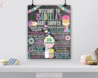 Donut Baby Shower Poster, Donuts Baby Shower Decor, Brunch Breakfast Baby Shower, Doughnut, Sweet Shoppe, Donut Party Welcome Sign, DIGITAL