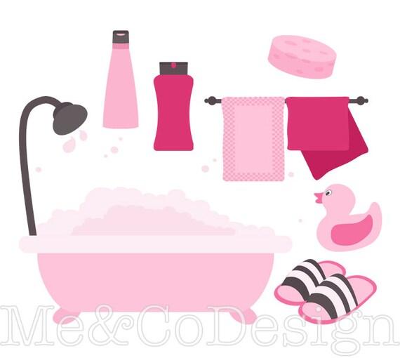pink bathroom clipart fun pretty clipart retro shampoo instant rh etsystudio com