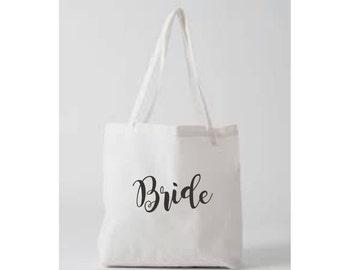 Bride Tote Bag Bachelorette Party White Gold Glitter Bridal Shower Wedding Shower Gift Beach Wedding American Apparel Natural