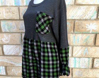 Thermal x flannel plaid cozy cotton shirt top tunic fall chunky warm soft boho gypsy upcycled ecofriendly long sleeve green black charcoal