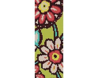 Wild Flowers  2 Peyote Bead Pattern, Bracelet Cuff, Bookmark, Seed Beading Pattern Miyuki Delica Size 11 Beads - PDF Instant Download
