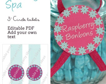 "Pacific Beauty Spa 3"" circle labels - editable PDF - add your own text"