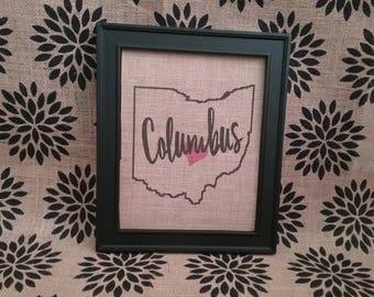 Ohio Your City Burlap Sign
