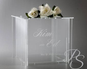 """Wedding Card Box, Money Box, Card Holder, Personalized Wedding Card Box, SHIP FLAT and Easy to Assmble  - 12""""x12""""x12""""H"""