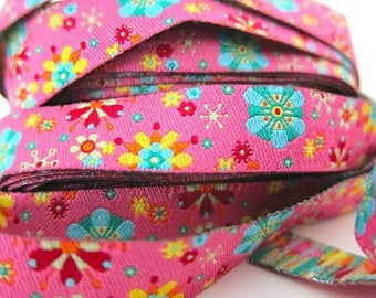 Pink floral Ribbon farbenmix 12mm by the yard