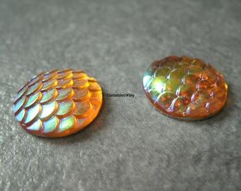 (CABR15) Set of 4 pretty cabochon resin Mermaid scales / dragon scale / reptile 16mm