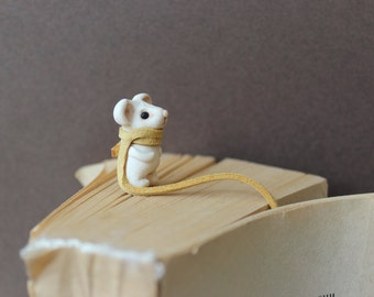 Bookmark Animal  for books Handmade  a scarf long Bookmarks Miniature Mouse clay gift best friend