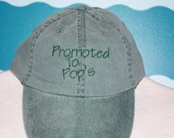 Promoted to pop's baseball cap - Embroidered pop's baseball hat - Baby anoucment gift - New Grandpa basebase ball cap - grandpa baseball cap