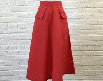 """1960s Paddle and Saddle Red Skirt with Pocket Stitching Detail, 24"""" waist"""