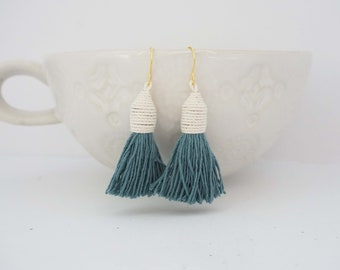 Dusty Blue Wrapped Tassel Earrings