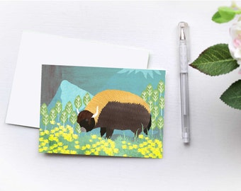 Folded Yak Notecard 6pack, Spirit Animal, Whimsical Art