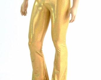 Mens Gold Sparkly Jewel Holographic Bootcut Spandex Pants Rockstar Rave Festival Yoga Leggings Disco -152347