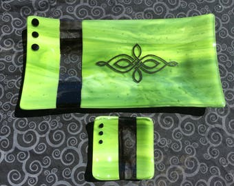 Fused glass serving set