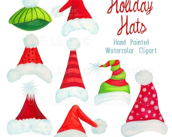 Santa hat clipart, Christmas holiday hats graphics, handpainted watercolor Christmas clipart, xmas hat art by SLS Lines