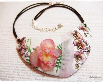 """""""Orchidée"""" entirely made of polymer clay bib necklace * orchid necklace"""