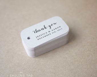 Thank You Wedding Favor Tags - Personalized Gift Tags - Bridal Shower - Thank you tags - Party Tags - Favor Bag Tag (Item code: J685)
