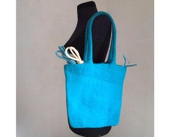 Felt bag, Felt hip-bag,Wool Felted Purse,Woman Felt Bag,Тurquoise Felt Bag,Handmade,Art Design