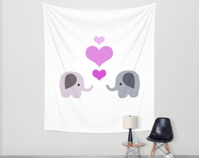 Nursery Hanging Tapestry - Elephant Wall Tapestry -  Large Wall Hanging - Original Nursery Art - Childs Room Tapestry Decor - Made to Order