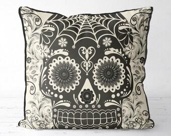 Sugar Skull Pillow Cover - SK1 - Black Sugar Skull Cushion Cover skull throw pillow sugar skull decor sugar skull gift gothic gift mexican