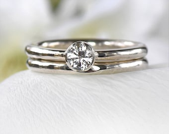 White Sapphire Bridal Ring Set in Eco Sterling Silver