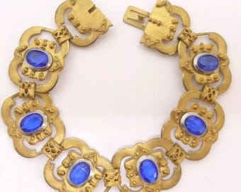 Art Deco Bracelet, Vintage Bracelet, Art Deco Jewellery, Czech Jewellery, Art Deco Jewelry, Vintage Jewellery, Gold Bracelet, Blue Bracelet
