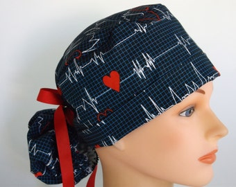 Heartbeat  Womens lined surgical scrub cap, scrub hat, Nurse surgical hat, 108-900 B
