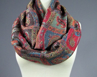 Multicolored Lightweight paisley infinity scarf, bohemian fashion scarfs, Scarves for Women, Pashmina