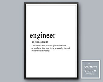 Engineer Gift, Gift for Engineer, Definition Print, Engineer Print, Mechanical Printable Art, Engineering Gift, Engineer Definition Download
