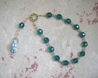 Goddess Prayer Beads with Green Ceramic Goddess Pendant