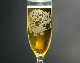 Hedgehog Champagne Flute - toasting glasssware