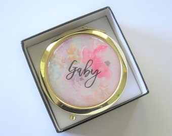 6 Personalized Floral Compacts- Bridesmaids Gifts - Bridal Party Gifts - Maid of Honor - Wedding Favors (Set of 6)