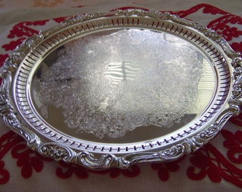 "Vintage  WALLANCE  Gorgeous Design SilverPlate, ""BAROQUE""  296 Round Platter, Tray Or Servingware  With 3 Button Legs"