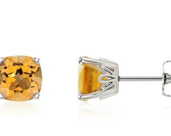 14K White Gold Citrine Earrings - Cushion-Cut Golden Citrine Gemstone Stud Earrings 6x6mm Square - November Birthstone - Gift For Her