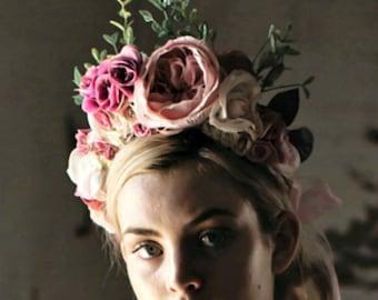 Pastel Pink Spring Racing Flower Crown Hair Wreath Floral Headband Peony Flower Crown Races Floral Crown Floral Fascinator Races Fascinator