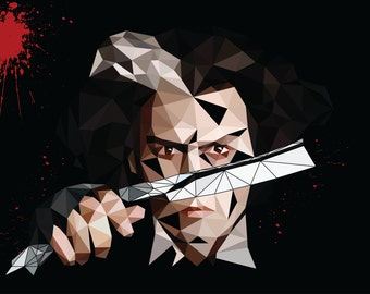 Sweeney Todd abstract polygon art poster
