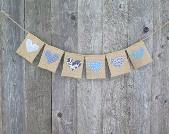 Heart Bunting, Burlap Banner, Valentines Day Decor, Heart Garland, Baby Shower Bunting, Photo Prop, Wedding Banner, Love Banner, Blue