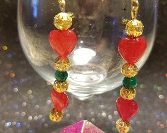 Ruby heart, emerald,  gold filigree drop earrings