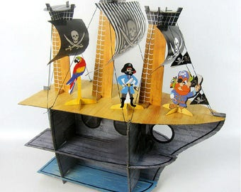 Pirate Ship Cupcake Rack Stand Holder Birthday Party Centerpiece
