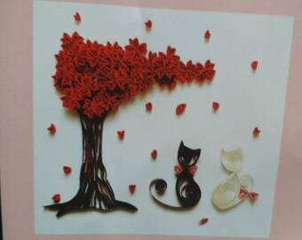 care to not for quilling pattern paperole couple cats under a tree with heart shaped leaf