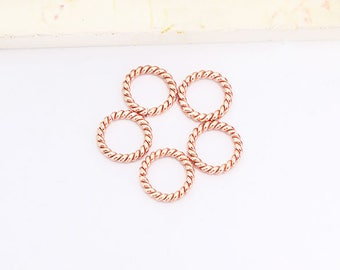 5 of Karen hill tribe Rose Gold Vermeil Style Opened Twisted Wire Rings 10mm.  :pg0416