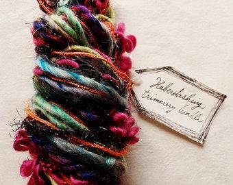 Old Fashioned deep painterly rainbow satin ribbon tinsel twine pom fringe Novelty Fiber Yarn Sampler Bundle