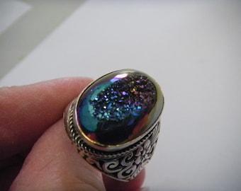Sterling Silver Statement Rainbow Aura Titanium Quartz Ring Size 10 1/2 Floral Side Patterning