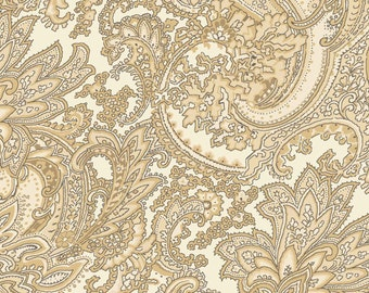 Cottage Whites - Large Paisley Gold 411-GOL by Red Rooster Cotton Fabric Yardage