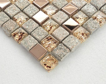 Glass and Natural Stone Backsplash Metal Tile Rose Gold Stainless Steel Mosaic Clear Crystal Wall Bathroom