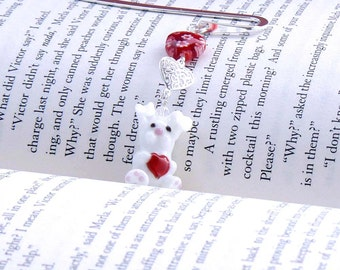 Beaded Bookmark - White Rabbit, Red Hearts, Silver Book Mark, Red Millefiori Heart Bead