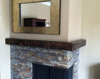 wrap around fireplace mantel. Notch out Mantel rustic wood  made to order 60 72 wrap around Floating beam dark walnut x