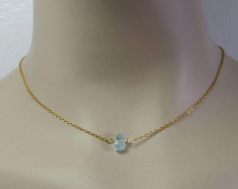 Dainty Aquamarine Choker Necklace Raw Aquamarine Necklace Rough Aquamarine genuine Necklace Raw Gemstone March Birthstone Gold Silver