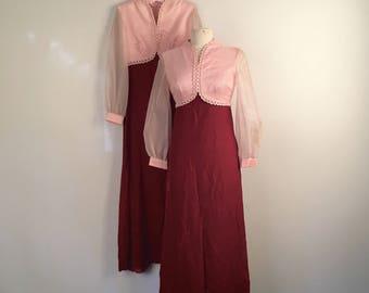 Two Matching Bridesmaid Empire Waist Dresses 60s 70s Vintage Pink Satin Chiffon Sleeves Red Velvet Skirt Long Formal Dress Small Medium