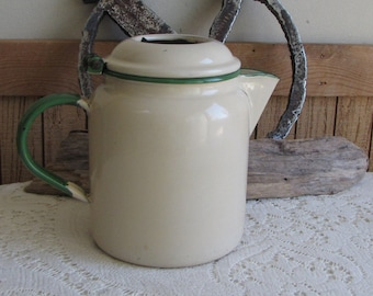 Cream and Green Enamelware Coffee Pot Vintage Dinnerware and Camping Gear