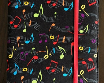 Black Kindle Paperwhite Case with Colorful Music Notes, Kindle Cover, Kindle Case, Black Kindle Case, Music Kindle Case